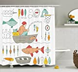 Ambesonne Nautical Decor Collection, Fishing Gear Fisherman in the Boat Catching Fish Rod Bobber Tackle Hook Clip Work Image, Polyester Fabric Bathroom Shower Curtain Set with Hooks, Light Salmon