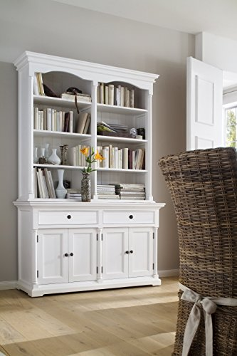 Library Hutch (NovaSolo Provence Pure White Mahogany Wood Double Hutch With Storage, 8 Shelves And 2 Drawers)