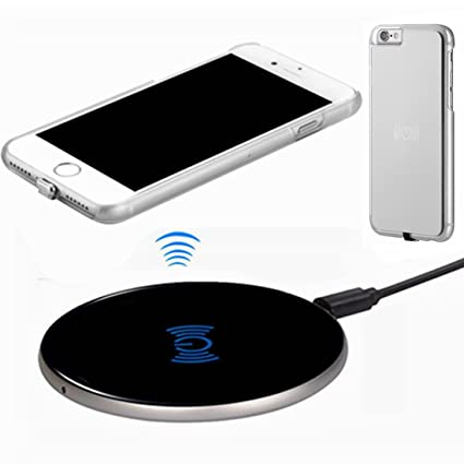 Wireless Charger Kit for iPhone 6, hanende [Sleep-Friendly] Qi Wireless Charging Pad and Wireless Receiver Case for iPhone 6 (silver)
