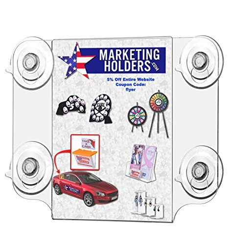 Marketing Holders Clear Acrylic 5''w x 7''h Ad Frame with Four Suction Cups (6) by Marketing Holders