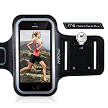 """iPhone 7 Plus/6 Plus Running Armband, Mpow Sports Armband for Samsung Galaxy S8, S8 Plus, S7 edge, S6 edge (Up to 5.5""""), Adjustable Size, Sweatproof Cell Phone Holder for Running Safety Design Suitable for Exercise, Running, Jogging, Biking With Key Holder"""