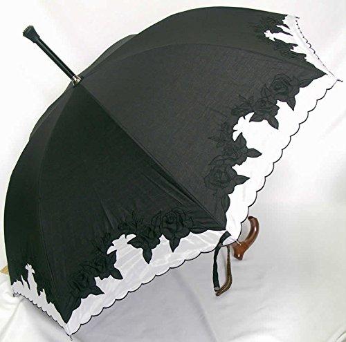 ステッキとしてご使用になれるステッキ傘(つえかさ)オーガンジー カットワークバラ柄刺繍 手開き 晴雨兼用 黒地白Lタイプ B0108SIHGC
