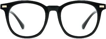 Firmoo Blue Light Blocking Glasses,Anti Eyestrain Migraine for Digital Screen,Oversize Round TR90 Frame Anti UV Non-Prescription Lens,S8718