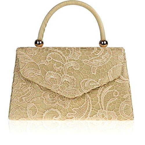 Floral Handled Satin Clutch Handbag Lace Xardi UK Ladies Evening Women Bridal Designer Gold London qZUw85t