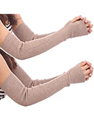 Cityelf Women's Cotton Solid Thumb Hole Sleeves Glove 2 in pack STW0019 (medium, lighttan)