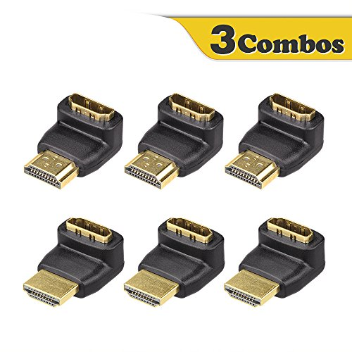 VCE 3 Combos 3D&4K Supported HDMI 90 Degree and 270 Degree Male to Female Adapter (270 Angle Adapter Hdmi)