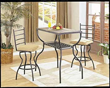 Stone Bar Table Set By Acme Furniture
