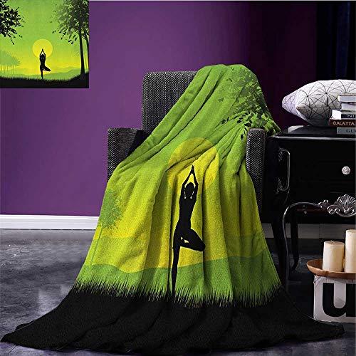 (Yoga park blanket Meditating Lady Under Sunset Sky in Forest Serenity Balance Soul Nature Art soft blanket Green Black Yellow size:60