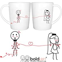 "BOLDLOFT ""Tie the Knot"" His & Hers Wedding Coffee Mugs-Wedding Gifts for the Couple,Wedding Gifts for Bride and Groom,Engagement Gifts for Couples for Him for Her,Bridal Shower Gifts"