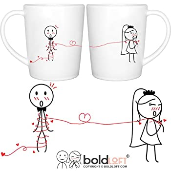 BOLDLOFT Tie the Knot His & Hers Wedding Coffee Mugs-Wedding Gifts for the Couple,Wedding Gifts for Bride and Groom,Engagement Gifts for Couples for Him for Her,Bridal Shower Gifts