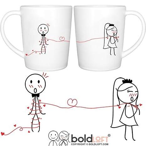 Amazon.com | BOLDLOFT Tie the Knot His & Hers Wedding Coffee Mugs ...