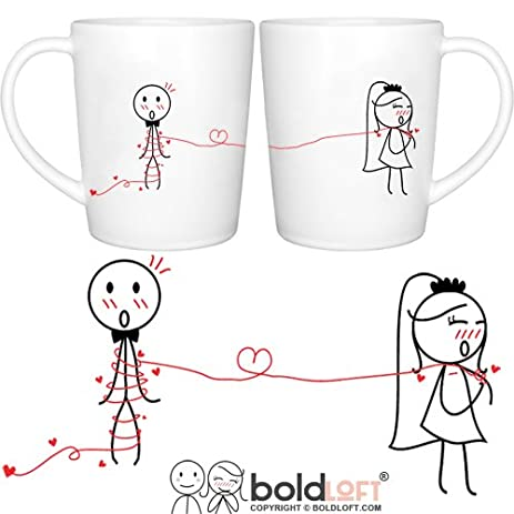 BOLDLOFT Tie The Knot His Hers Wedding Coffee Mugs Gifts For Couple