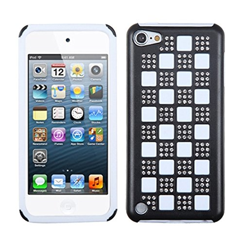White Checkers Protector Case - Asmyna Silver Checker/Black/White Diamante Duple Protector Cover for iPod touch 5