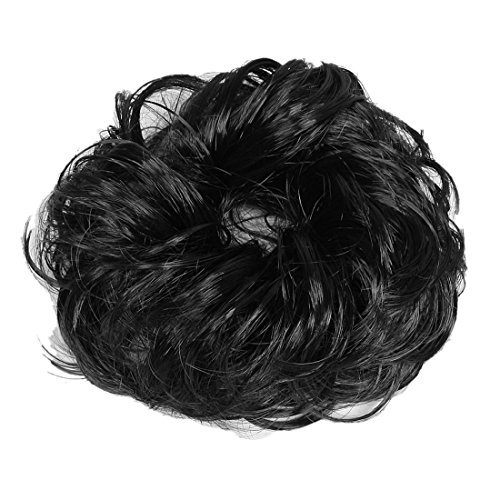 DealMux Women Hair Wave Scrunchie Bun Extensions Curly Ponytail Hairpiece Black