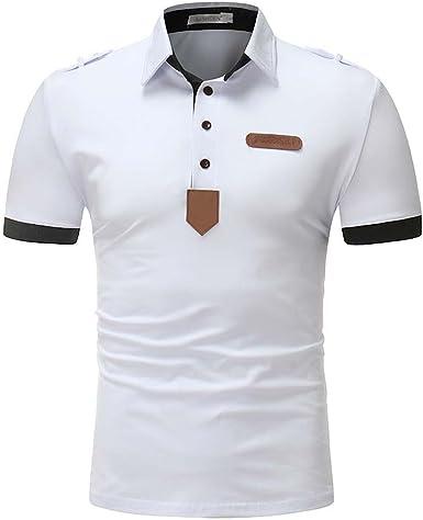 DaiHan Pure Color Contraste Collar Camisa Polo para Hombre Manga ...