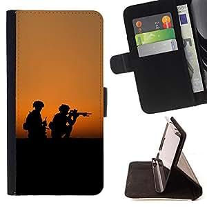 BullDog Case - FOR/Samsung ALPHA G850 / - / soldaty oruzhie armiya /- Monedero de cuero de la PU Llevar cubierta de la caja con el ID Credit Card Slots Flip funda de cuer