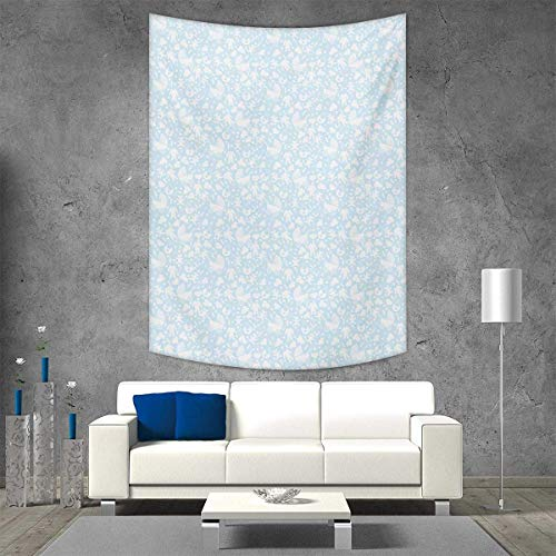 smallbeefly Baby Vertical Version Tapestry Hearts Background with Teddy Bears Strollers Infant Clothes Newborn Child Theme Throw, Bed, Tapestry, or Yoga Blanket 70W x 93L INCH Pale Blue White