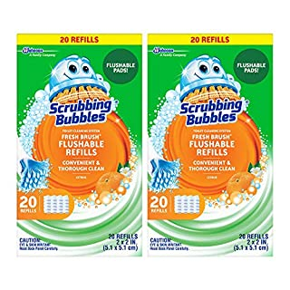 Scrubbing Bubbles Fresh Brush Flushables Refill, Toilet and Toilet Bowl Cleaner, Eliminates Odors and Limescale, Citrus Action Scent, 20ct- Pack of 2 (40 Total Pads)