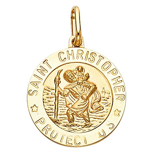 14k Yellow Gold Religious Saint Christopher Medal Charm Pendant (12 x 12 mm) 14k Yellow Gold Medal