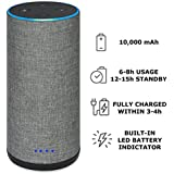 Battery Base for Echo 2, Gorgeous Linen-Covered Portable Power Bank with 10,000mAh Capacity for up 8 Hours of Continuous Playtime for Echo 2nd Generation - by Wasserstein (Grey Fabric Cover)