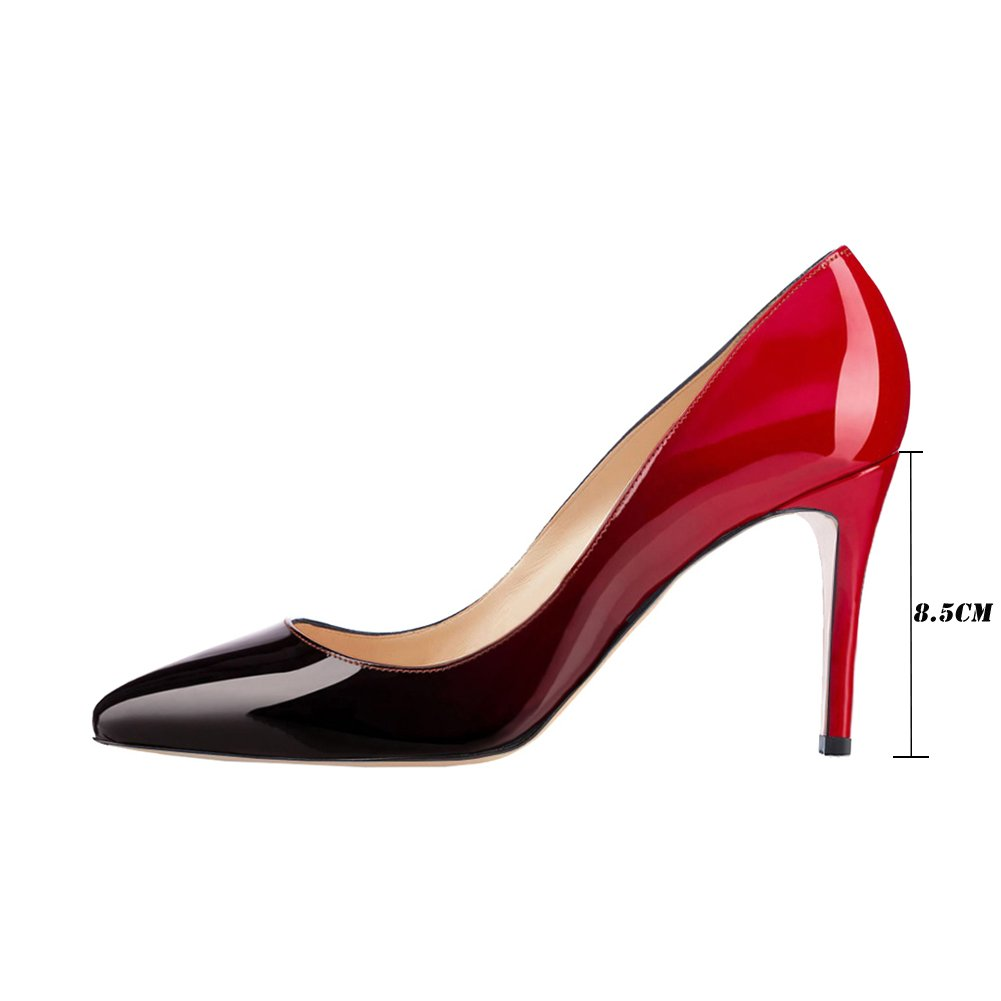 VOCOSI Women's Basic Simple High Heels Slip Ladies On Closed Pointed Toe Ladies Slip Dress Pumps B073JFN8ST 8.5 B(M) US|Red-black(patent) 7e00d6