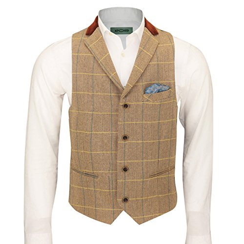 XPOSED Mens Vintage Tweed Check Herringbone Oak Brown Grey Tailored Fit Retro Velvet Collar Waistcoat Vest [Chest UK 54 EU 64,Light Oak] (Vest Velvet Vintage)