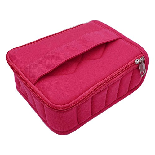 Soft 30 Bottles Essential Oil Carrying Case Holds for 5ml/10ml/15ml Travel or Home Storage Bag with Handle Alloy Zipper Thick Foam(Rose)