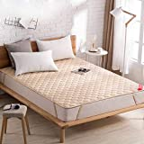 YQ WHJB Cotton Mattress-Toppers,Ultra Soft Mattress Pads,Non-Slip Solid Color Foldable Hotel Home Tatami Mattress-Light tan 180x200cm(71x79inch)