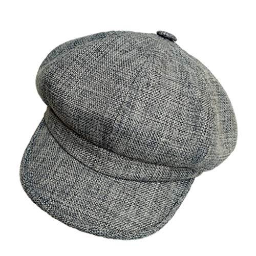 Vintage Octagonal Cap Women Linen Newsboy Beret Caps Ladies Summer British Painter Baker Boy Hat
