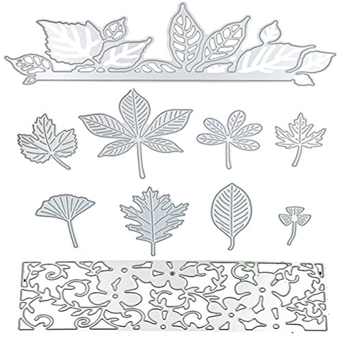 Dies Cut Metal Cutting Dies Stencils Leaves Leaf Flowers for DIY Scrapbooking Photo Album Decorative Embossing DIY Paper Cards Craft (Dies 18)
