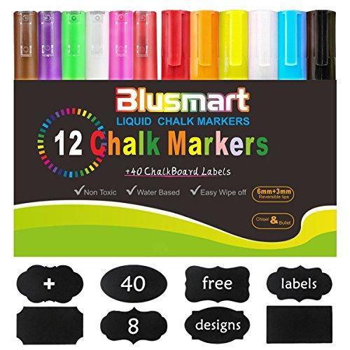 Kreidemarker, Blusmart 12 Stück farbig sortiert mit 40 Tafelaufkleber, Reversible Stiftspitze 6mm+3mm, für Kartenherstellung DIY Fotoalbum Gebrauch auf irgendeiner Oberfläche-Papier Gläser Kunststoff Keramik