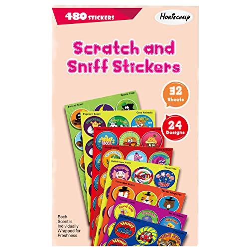 Scratch Sniff Sticker Sheet - HORIECHALY Sweet Stickers, 32 Sheets with 8 Scent Scratch and sniff Stickers, Assorted Classroom Stickers for Kids & Teachers Mega Variety Pack!