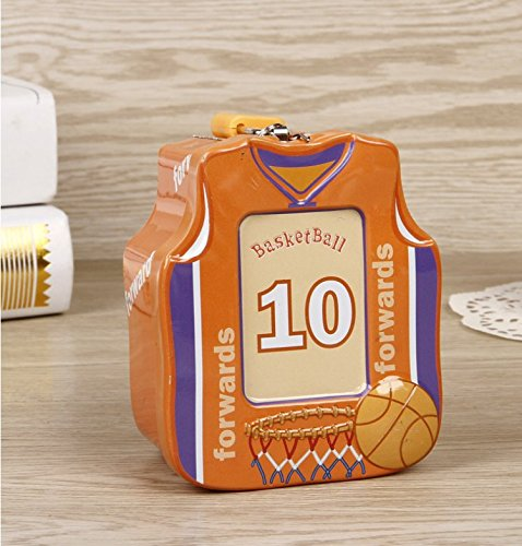 Polymer Mini Save Money Bank Basketball Shirt Piggy Bank Tin Storage Box With Lock (Orange) (Mini Bank Basketball)