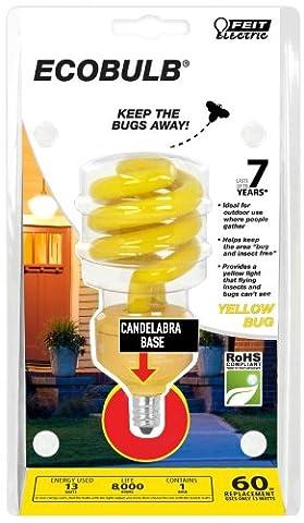Feit BPESL13TC/BUG 13-watt Mini Twist Yellow Bug Candelabra Base 60-watt Equivalent Light - Yellow Cfl