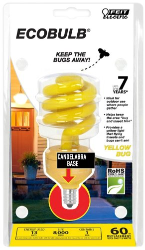- Feit BPESL13TC/BUG 13-watt Mini Twist Yellow Bug Candelabra Base 60-watt Equivalent Light