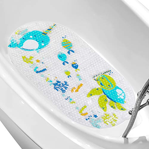 "LEJHOME Bathtub Mat for Kids - 27.5""x 15"" Cartoon Non-Slip Bathroom Bath Kid Mats - Floor Tub Mats for Toddlers Children Baby"
