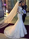 MARSEN Womens Off Shoulder Formal Gown Bride Long Sleeve Mermaid Wedding Dress