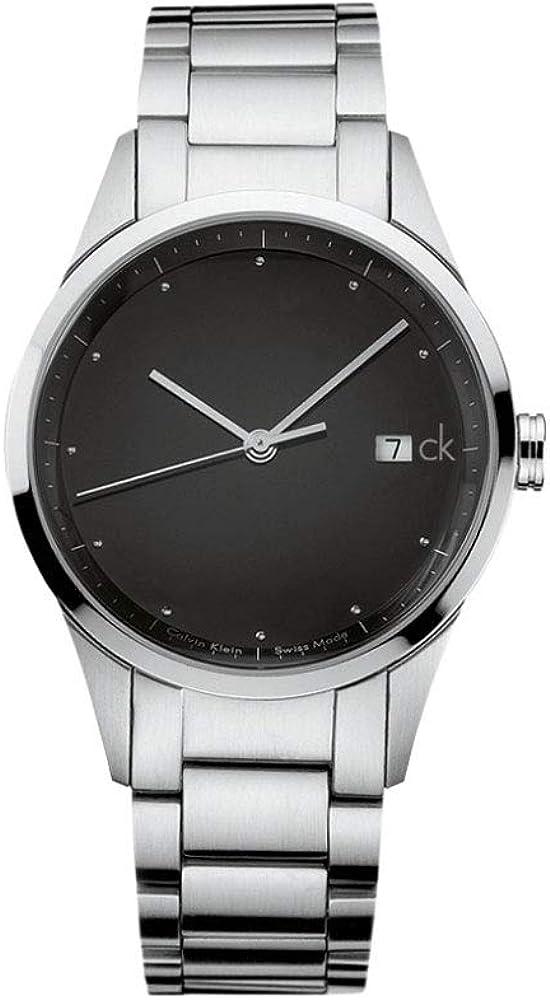 Calvin Klein - Reloj de hombre, esfera negra, correa de acero