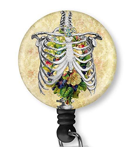 Flower Skull Retractable ID Card Badge Holder with Alligator Clip, Name Nurse Decorative Badge Reel Clip on Card Holders