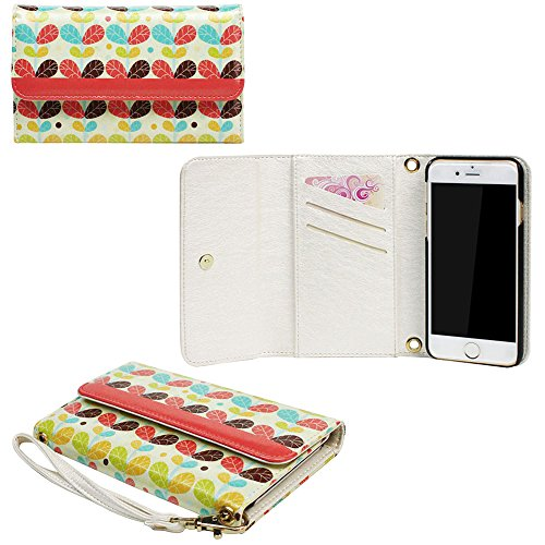 JAVOedge Orange 60s Retro Leaf Print Clutch Style Wallet Case / Card Holder with Wristlet for Apple iPhone 6 Plus (5.5
