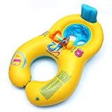 UNAKIM-Inflatable Mother Baby Swimming Ring with Seat Floaties Swim Pool Float Toy