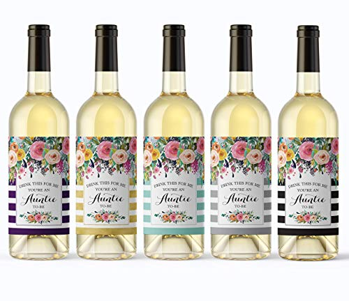 5 COLOR VARIETY PACK - Drink This For Me - You're An Auntie-To-Be Wine Labels, Pregnancy Announcement Label, Pregnancy Reveal Wine Labels in Turquoise, Eggplant, Back, Gold & Slate Gray A106-5-CLRS-A1 ()