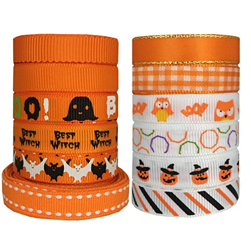 DUOQU 24 Yards 3/8 inch 12 Styles (12x2yd) Halloween Ribbon With Grosgrain Ribbon Satin Ribbon Plaid Ribbon Printed Halloween Element Pattern Orange Series