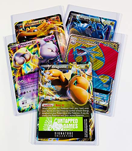 5 Oversized Jumbo Pokemon Cards in TOP LOADERS! EX GX Legendary Full Art Untapped Games