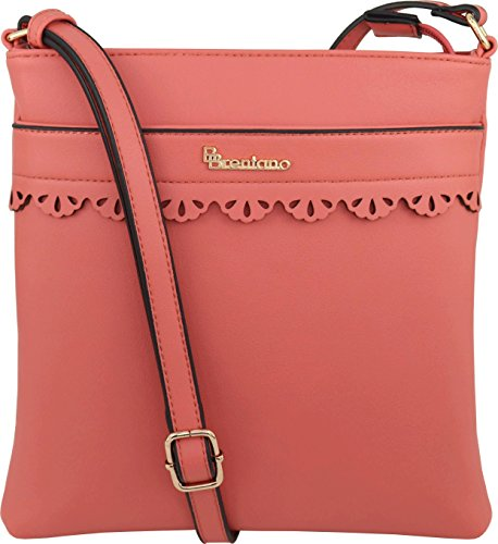- B BRENTANO Vegan Medium Crossbody Handbag Purse (Coral)