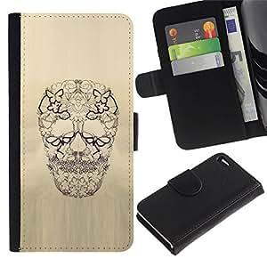 All Phone Most Case / Oferta Especial Cáscara Funda de cuero Monedero Cubierta de proteccion Caso / Wallet Case for Apple Iphone 4 / 4S // Skull Floral Butterfly Spring Death