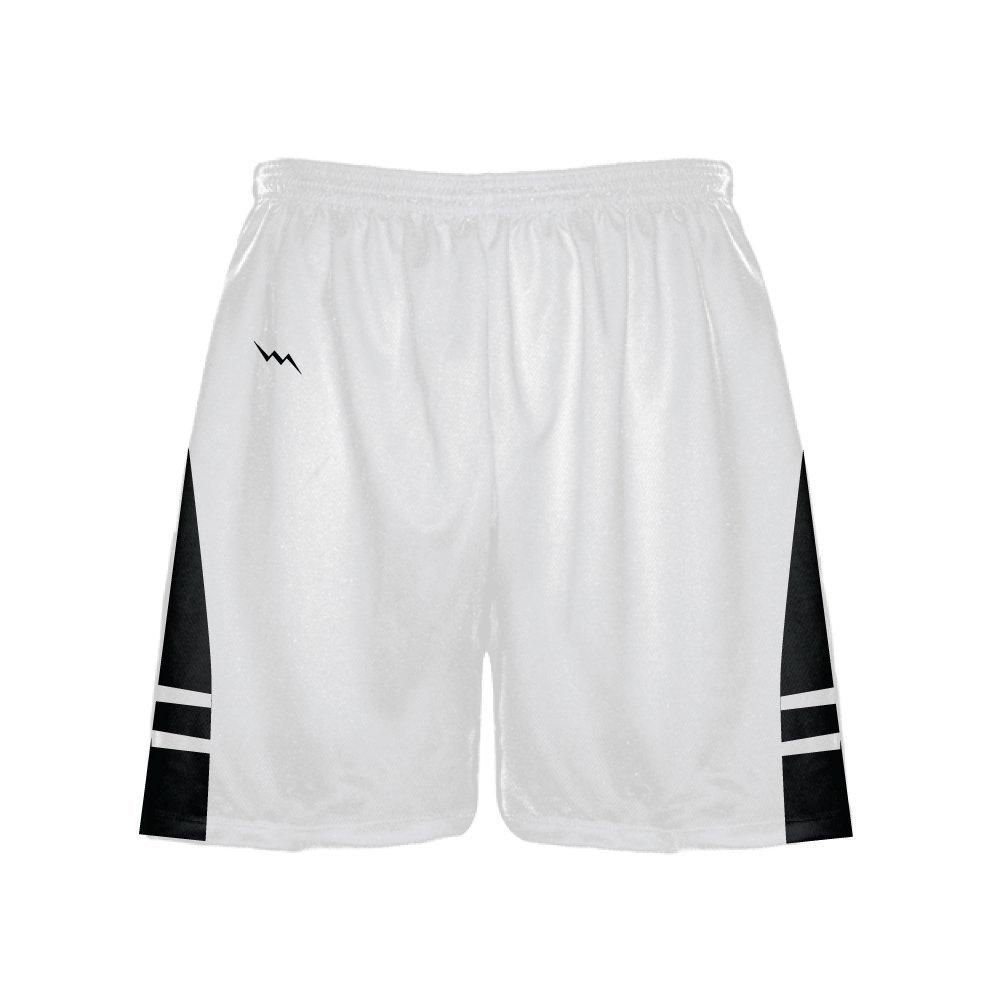 LightningWear Lightning Wear Athletic Gym Shorts - Mens White Black Athletic Shorts - Basketball, Soccer, Lacrosse 3XL