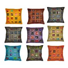 Indian Traditional Handmade Pillow Cover Decorative Cushion Covers Patchwork, 16 X 16 Inches, 10 Pcs Lot