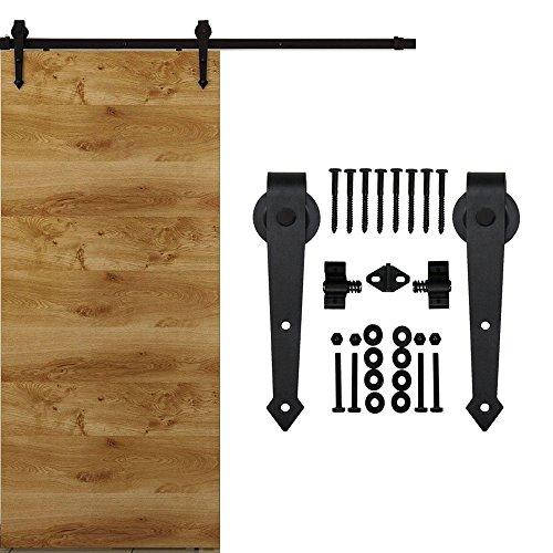 HomeDeco Hardware Black Rustic Aroow Design Retro Wood Sliding Barn Door Hardware Interior Flat Tracks Kits for Single Door (8FT Single Door Kit) (Dutch Door Kit compare prices)