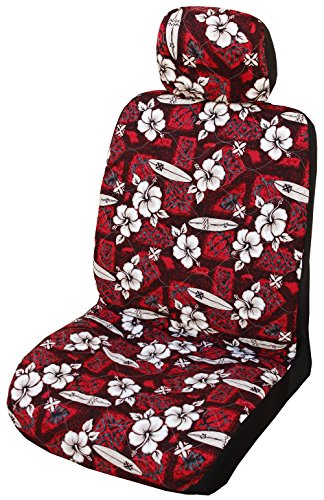Winnie Fashion Red Hibiscus Surf Hawaiian Separate Headrest Cover; Made in Hawaii; Set of 2